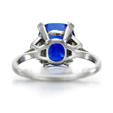 View 4. Thumbnail of Lot 139. Garrard & Co.   Sapphire and diamond ring, 1960s.