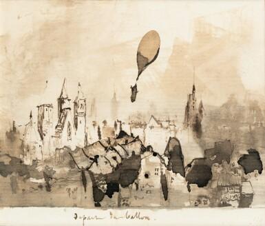 View 1. Thumbnail of Lot 83. Hugo. Départ du ballon. Dessin original à la plume (130 x 113 mm)..