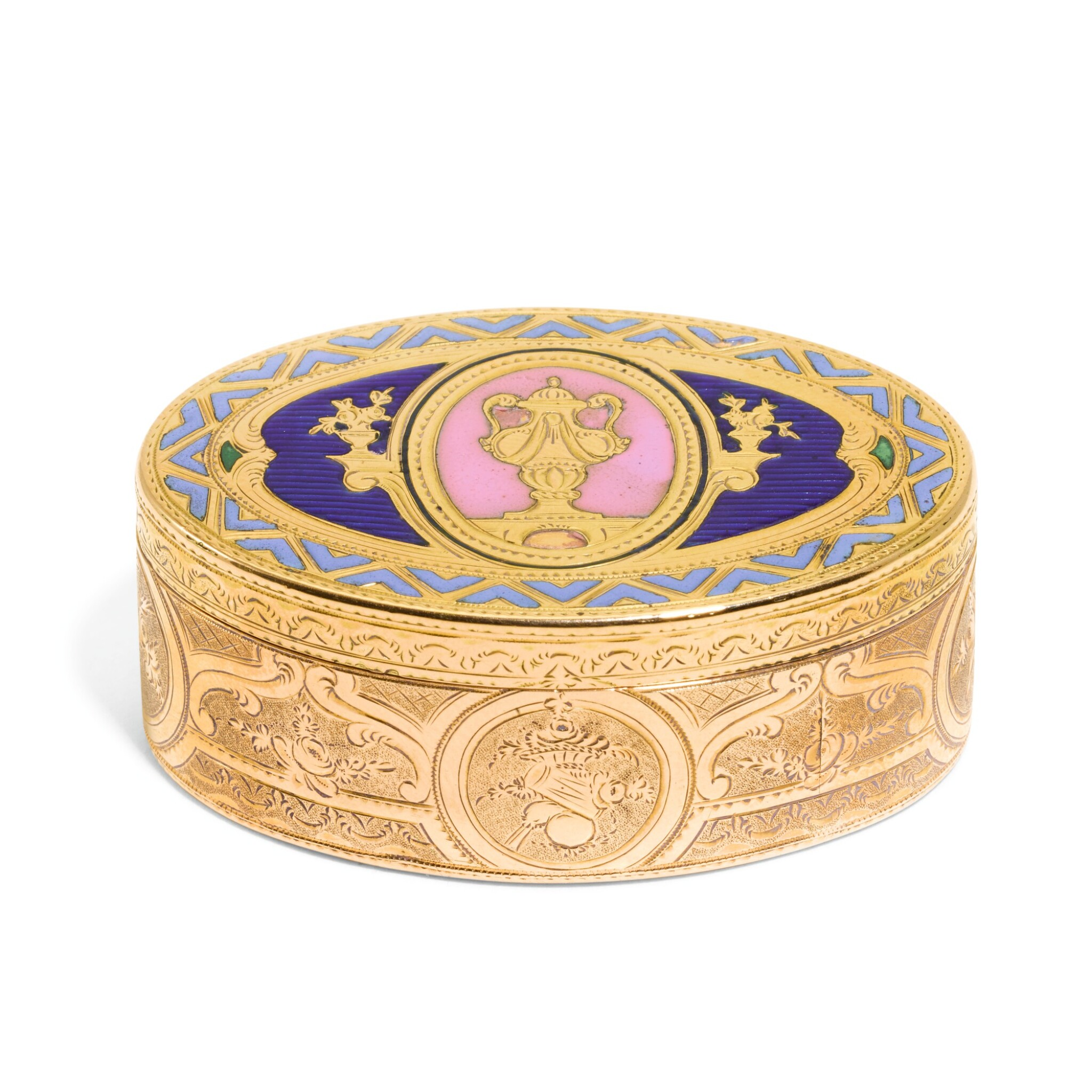 View full screen - View 1 of Lot 314. A small gold and enamel snuff box, Hanau, circa 1780 and later.
