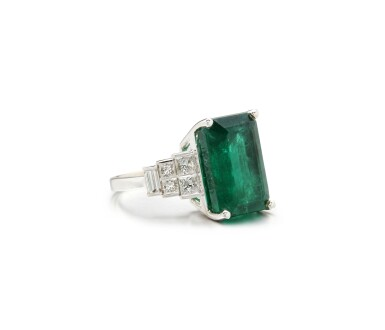 View 2. Thumbnail of Lot 64. EMERALD AND DIAMOND RING.