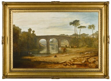 View 2. Thumbnail of Lot 50. JOSEPH MALLORD WILLIAM TURNER, R.A. |  WHALLEY BRIDGE AND ABBEY, LANCASHIRE: DYERS WASHING AND DRYING CLOTH.