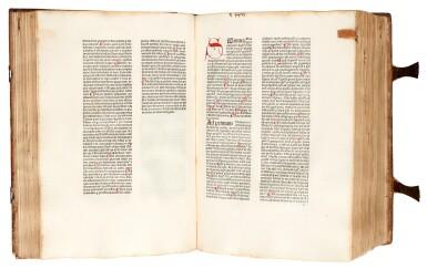 View 2. Thumbnail of Lot 43. Alexander de Ales, Super universae theologiae, Venice, 1475, contemporary Germanic pigskin binding.