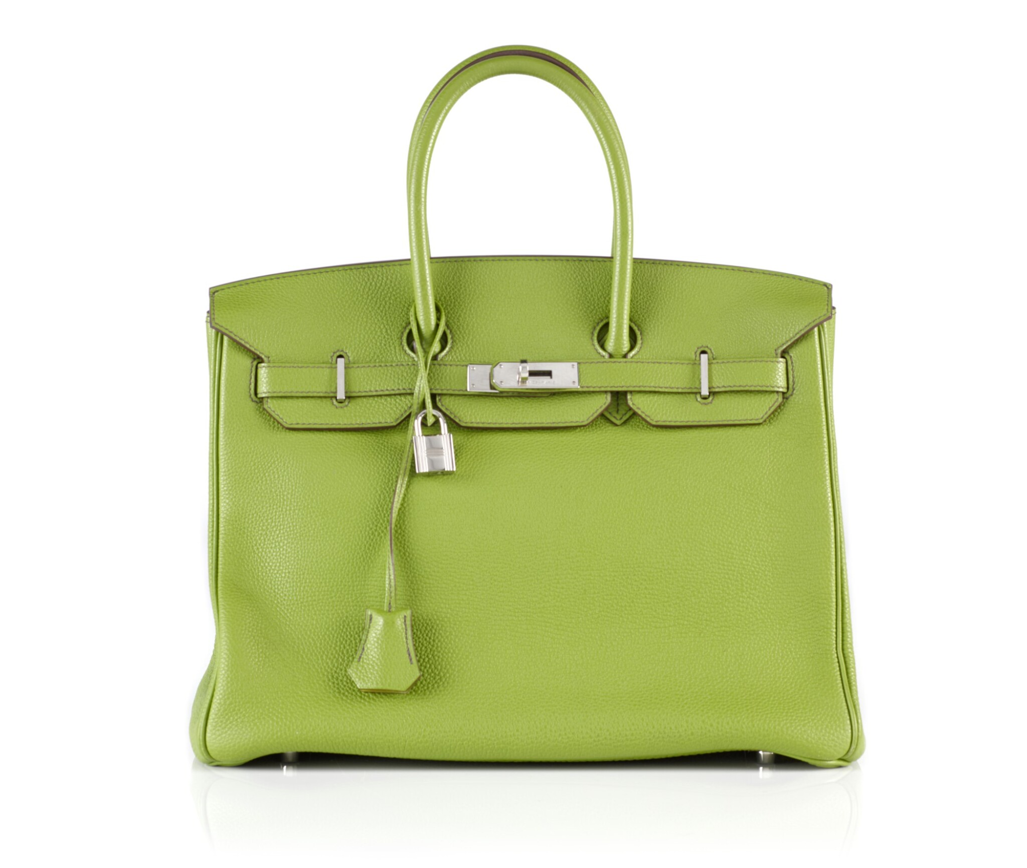 View full screen - View 1 of Lot 10. BIRKIN 35 VERT ANIS COLOUR IN TOGO LEATHER WITH PALLADIUM HARDWARE. HERMÈS, 2011 .