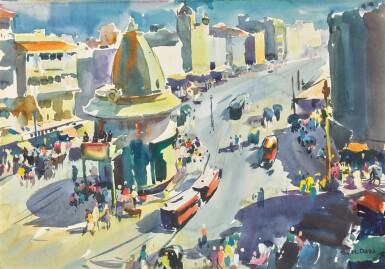 SAYED HAIDER RAZA | Untitled (Gol Deval Temple, Bombay)