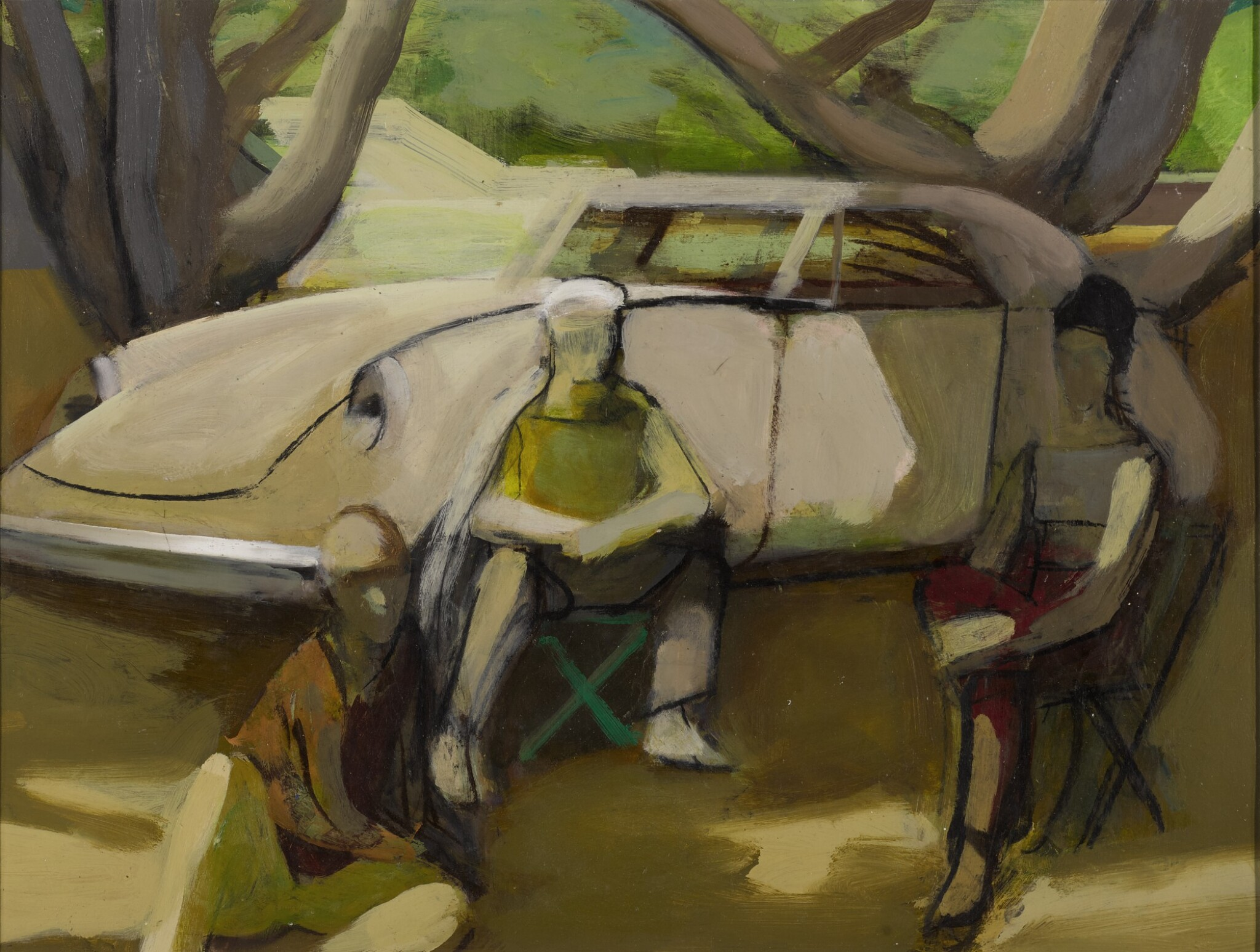 View full screen - View 1 of Lot 1510. JAMES WEEKS | STUDY FOR TRIO ON THE PARK WITH CAR.
