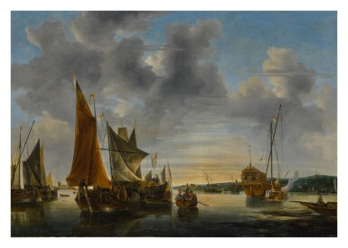 View 1. Thumbnail of Lot 528. DUTCH SCHOOL, 17TH OR 18TH CENTURY | SHIPPING SCENE ON CALM WATER.
