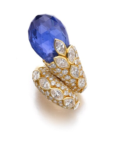 View 1. Thumbnail of Lot 145. Van Cleef & Arpels | Sapphire and diamond ring, 1982 | 梵克雅寶 | 藍寶石配鑽石戒指,1982年.