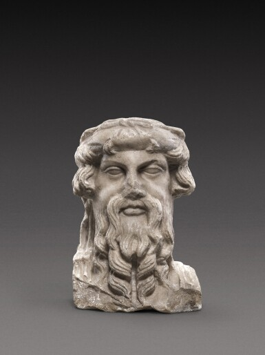 View full screen - View 1 of Lot 96. A Roman Marble Herm Bust of Priapos, circa 2nd Century A.D..