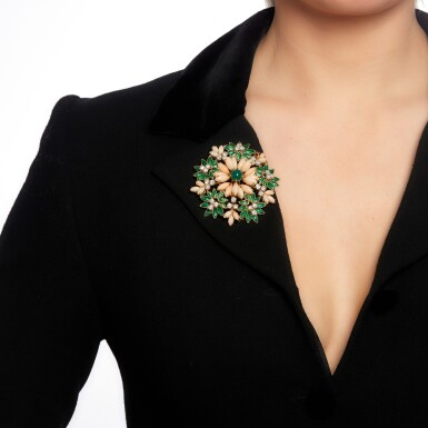 View 4. Thumbnail of Lot 47. Coral, enamel, chrysoprase and diamond brooch, 1960s.