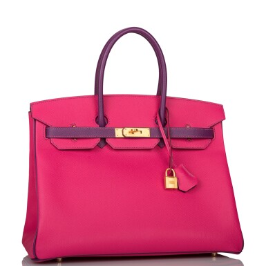 View 2. Thumbnail of Lot 26. HERMÈS   HORSESHOE STAMP (HSS) BICOLOR ROSE TYRIEN AND ANEMONE BIRKIN 35CM OF EPSOM LEATHER WITH GOLD HARDWARE.