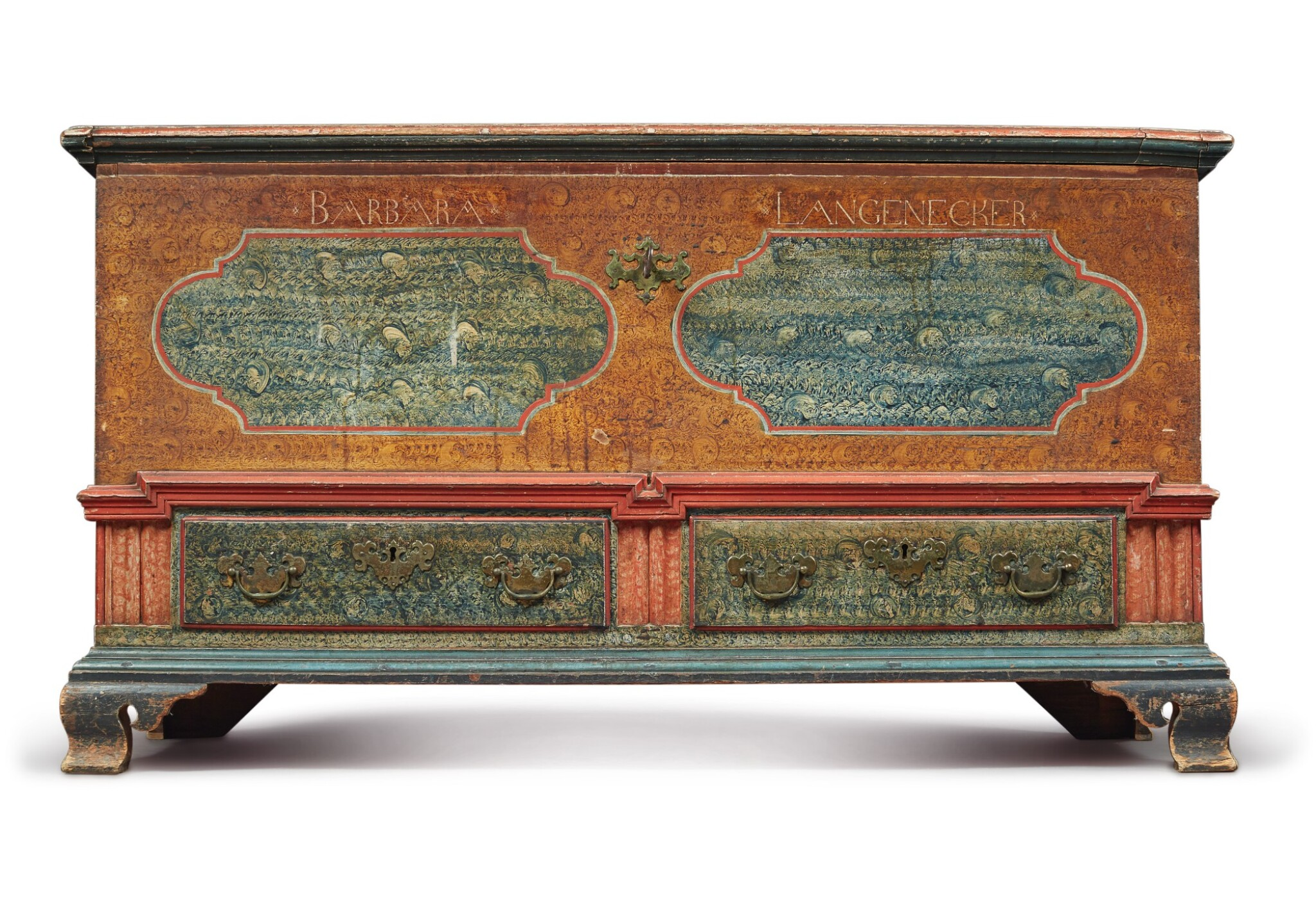 View full screen - View 1 of Lot 356. Federal Polychrome Paint-Decorated Poplar Blanket Chest with Two Drawers, Lancaster County, Pennsylvania, Circa 1780.