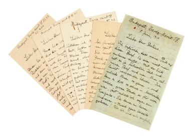 View 1. Thumbnail of Lot 6. B. Bartók, 5 autograph letters to Frederick Delius, about the influence of folk music on his works, 1910-1911.