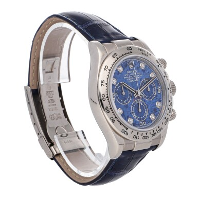 View 3. Thumbnail of Lot 464. ROLEX   DAYTONA REF 116519, A WHITE GOLD AUTOMATIC CHRONOGRAPH WRISTWATCH WITH SODALITE AND DIAMOND-SET DIAL CIRCA 2004     .