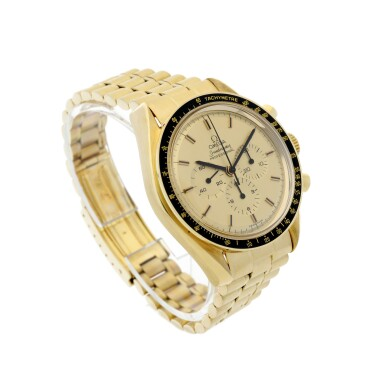View 3. Thumbnail of Lot 77. REFERENCE 145.022-69 SPEEDMASTER APOLLO XI 1969 A LIMITED EDITION YELLOW GOLD CHRONOGRAPH WRISTWATCH WITH BRACELET, A SELECTION OF WHICH WERE GIFTED TO ASTRONAUTS AND PERSONALITIES, CIRCA 1969.