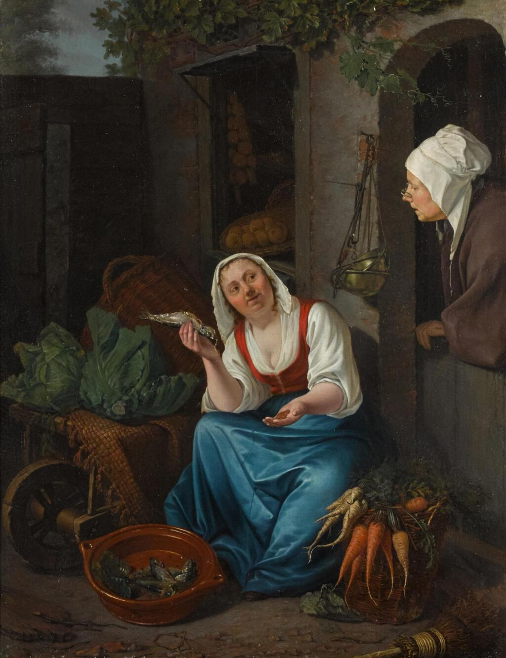 PIETER CHRISTOFFEL WONDER | A young woman selling fish and vegetables