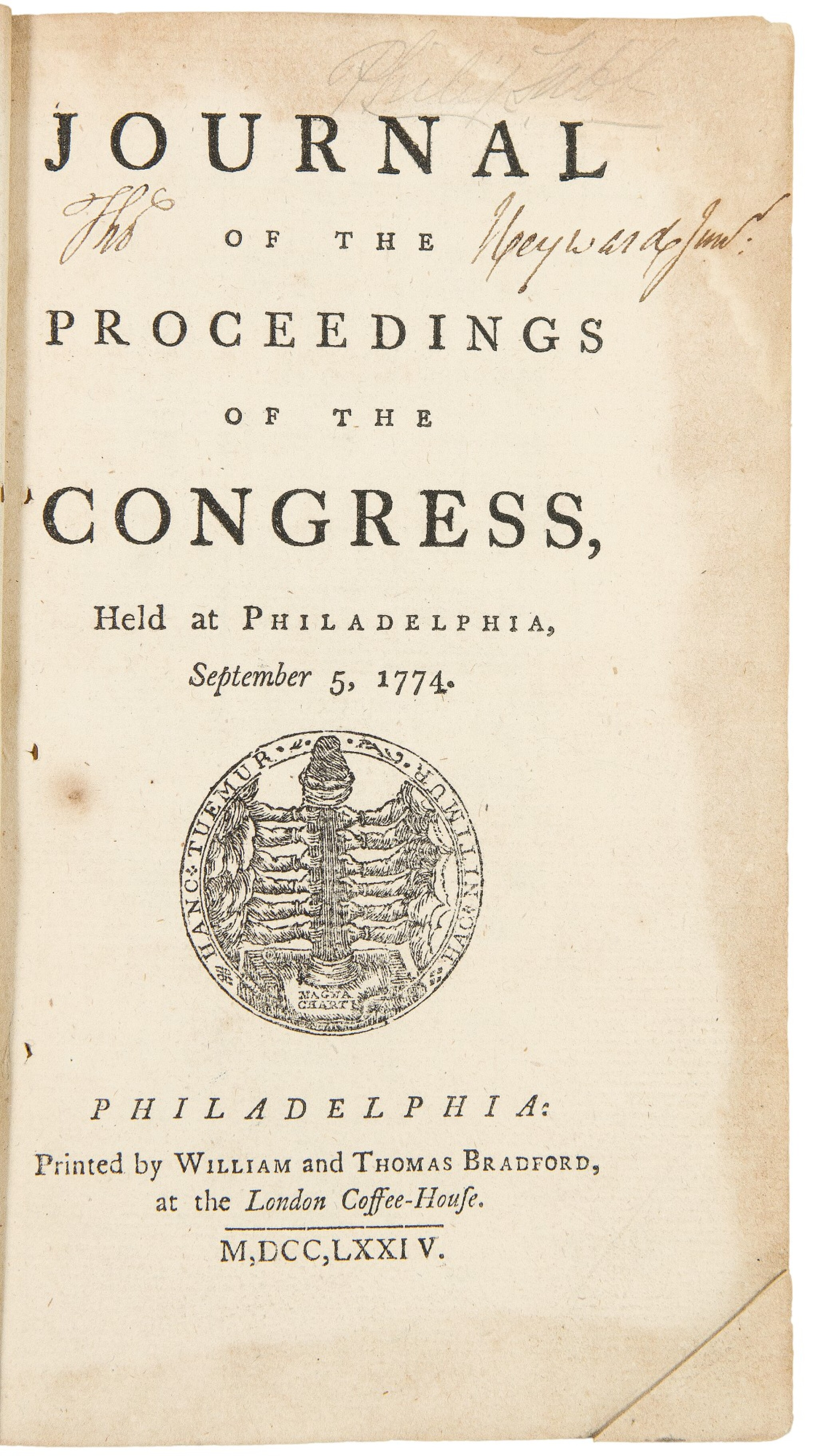 View full screen - View 1 of Lot 176. Continental Congress | The rare first editions with remarkable provenance.