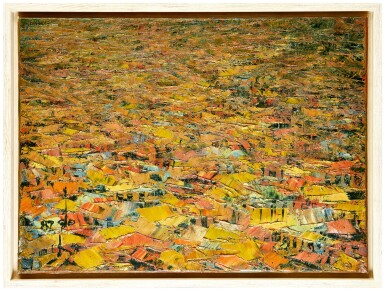 View 3. Thumbnail of Lot 184. Ablade Glover, b. 1934 | View over a Village, Yellow roofs.