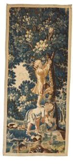 A Louis XIV genre tapestry fragment, early 18th century