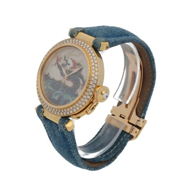 View 2. Thumbnail of Lot 467. Pasha, Ref. 2467 Limited edition yellow gold and diamond-set wristwatch with champlevé enamel dial Circa 2005 | 卡地亞 2467型號「Pasha」限量版黃金鑲鑽石腕錶配內填琺瑯錶盤,年份約2005.