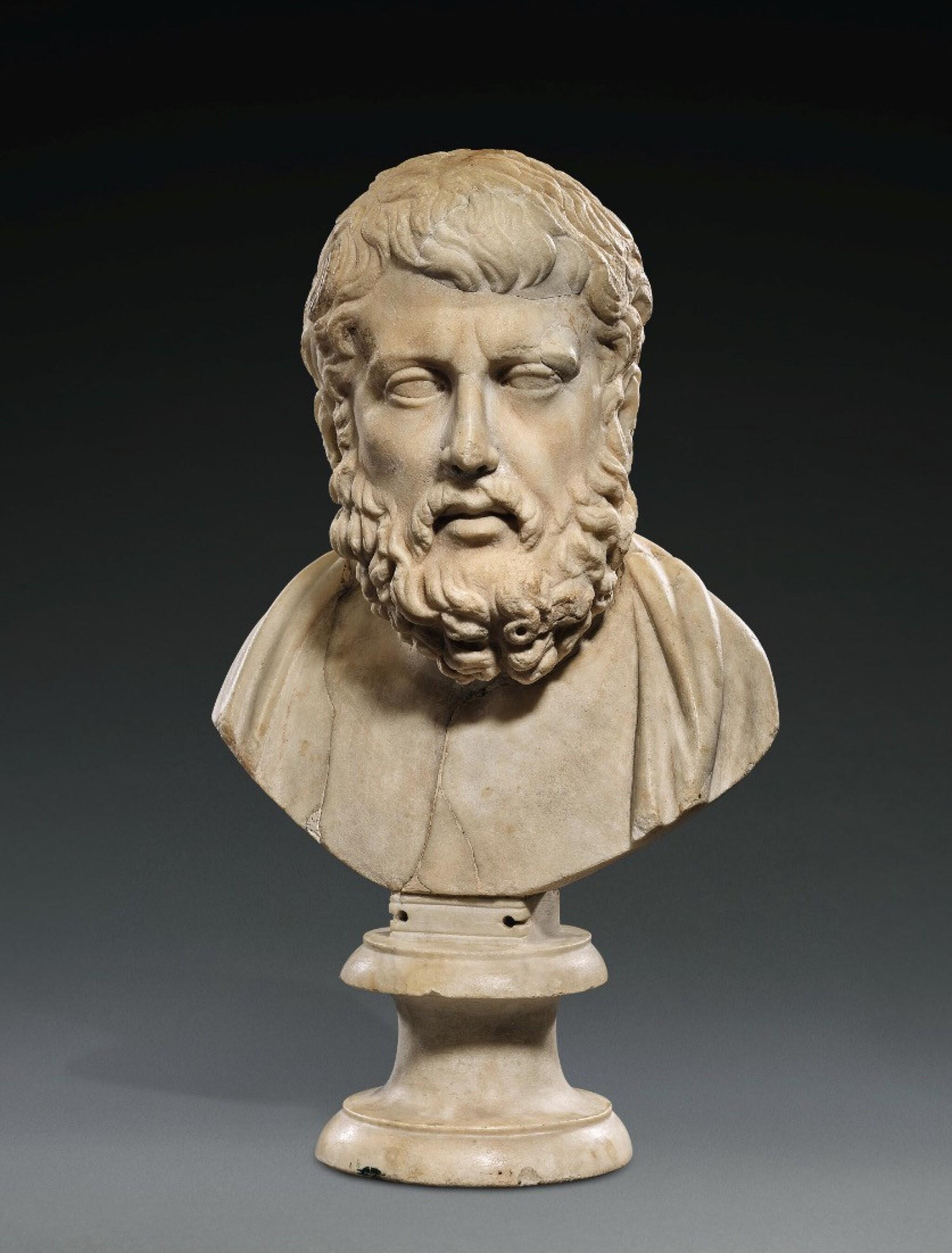 View 1 of Lot 91. A Roman Marble Portrait Bust of Hermarchos of Mytilene, circa 1st Century A.D..