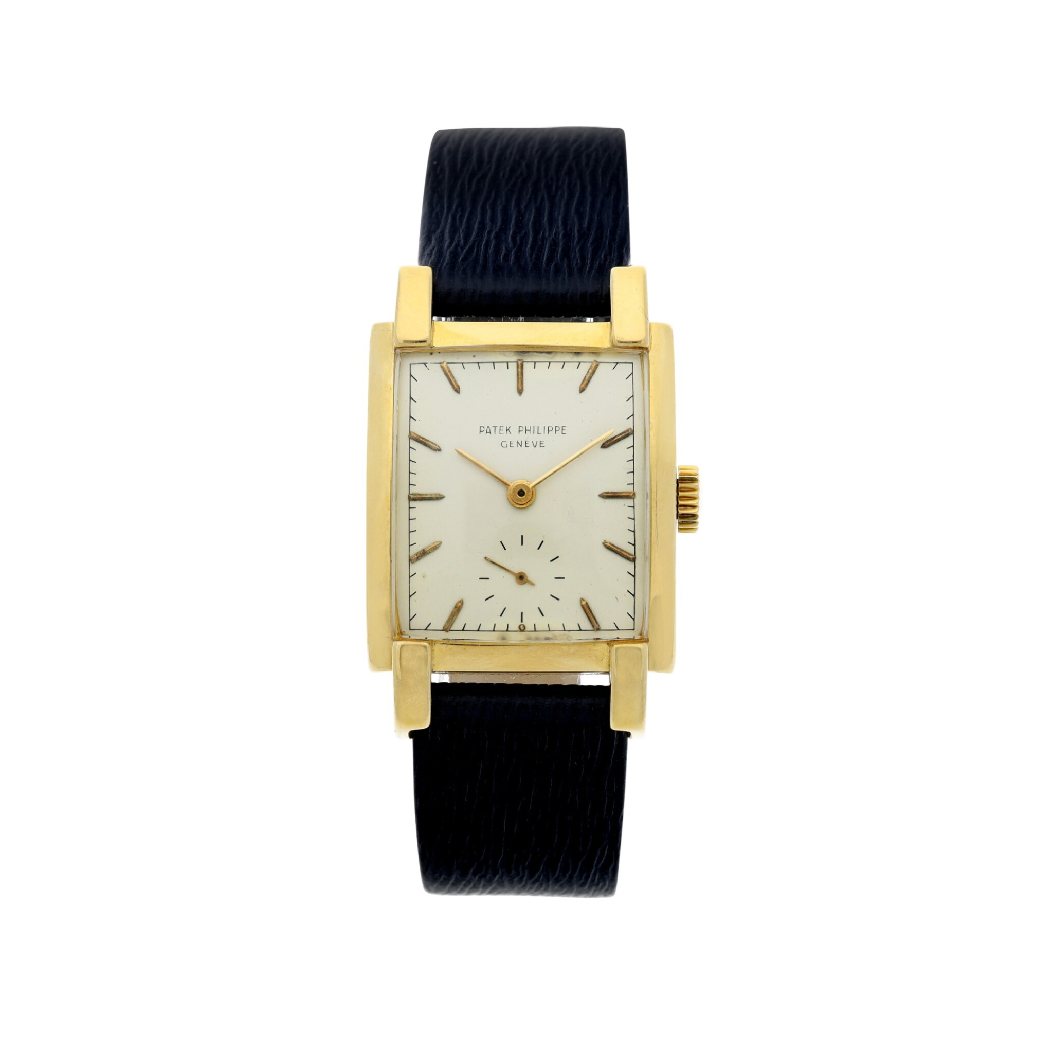 View full screen - View 1 of Lot 302. REFERENCE 2443 A YELLOW GOLD RECTANGULAR WRISTWATCH, CIRCA 1950.