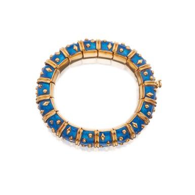 View 3. Thumbnail of Lot 25. Gold and Enamel 'Dot Losange' Bangle-Bracelet, Paris.