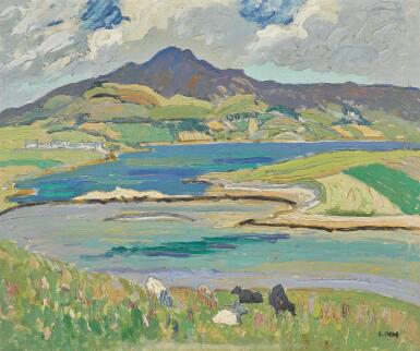 View 1. Thumbnail of Lot 1. LETITIA MARION HAMILTON, R.H.A. | CARRYGART, CO. DONEGAL, ERRIGAL MOUNTAIN IN THE DISTANCE.