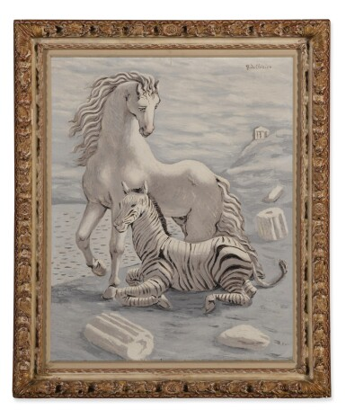 View 2. Thumbnail of Lot 72. Cavallo e zebra in riva al mare (Horse and Zebra by the Sea).