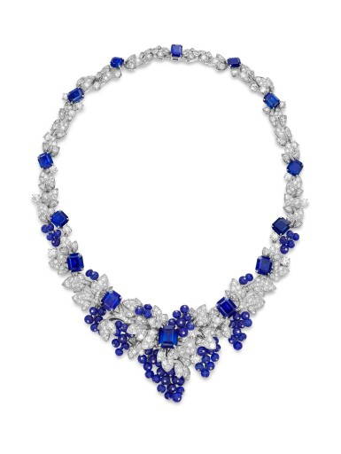 GRAFF | SAPPHIRE AND DIAMOND NECKLACE格拉夫 | 藍寶石 配 鑽石 項鏈  (藍寶石及鑽石共重約142.06及33.96卡拉 )