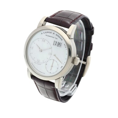 View 2. Thumbnail of Lot 290. Reference 110.029 Lange 1  A white gold wristwatch with date, power reserve indication and mother-of-pearl dial, Circa 2000 .