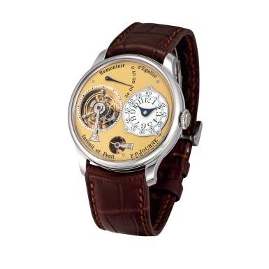 "View 2. Thumbnail of Lot 2212. F.P. Journe | Tourbillon Souverain ""Remontoir d'Egalite"" | A limited edition stainless steel tourbillon wristwatch with constant force remontoire and power reserve indication, Circa 2015 | Tourbillon Souverain 'Remontoir d'Egalite'  限量版精鋼陀飛輪腕錶,備恆動力裝置及動力儲備顯示,約2015年製."