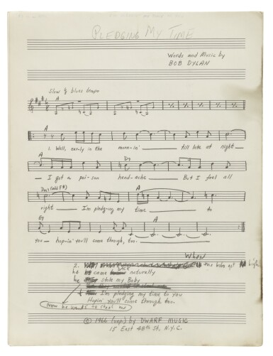 """View 5. Thumbnail of Lot 139. [DYLAN, BOB] 
