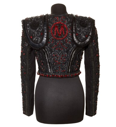 View 4. Thumbnail of Lot 10. A Matador Inspired Handmade Short Jacket in Leather Details and Swarovski Crystals made for Madonna, circa 2015.
