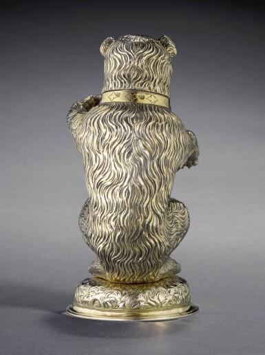 View 2. Thumbnail of Lot 2. A fine German silver-gilt drinking cup modelled as a bear, Hans auf der Burg, Nuremberg, circa 1598-1602.