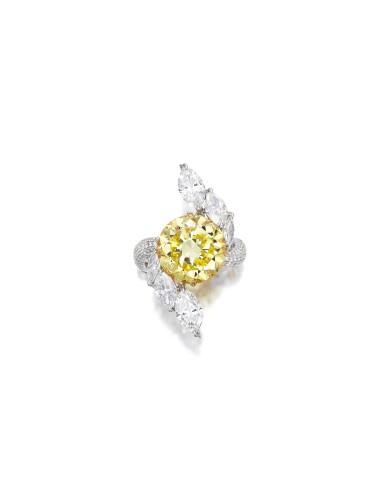 View 1. Thumbnail of Lot 1635. FANCY DEEP YELLOW DIAMOND AND DIAMOND RING| 7.29卡拉 深彩黃色 鑽石 配 鑽石 戒指.