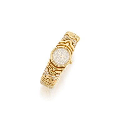 GOLD AND DIAMOND 'PARENTESI' BRACELET-WATCH, BULGARI