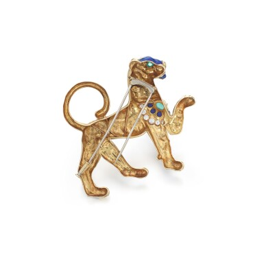 View 3. Thumbnail of Lot 67. Gem set and diamond brooch, 'Persian Tiger', circa 1972.