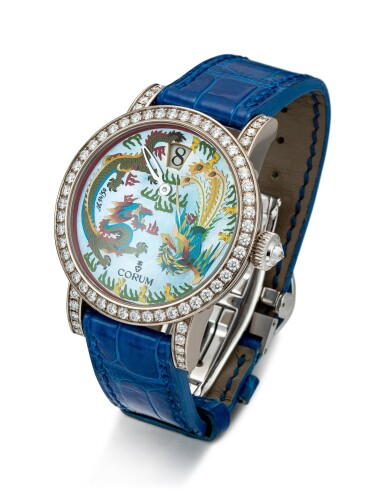 View 2. Thumbnail of Lot 859. CORUM | REFERENCE 254.102.69 A LIMITED EDITION WHITE GOLD AND DIAMOND-SET JUMPING HOUR WRISTWATCH WITH MOTHER-OF-PEARL AND ENAMEL DIAL, CIRCA 2005.