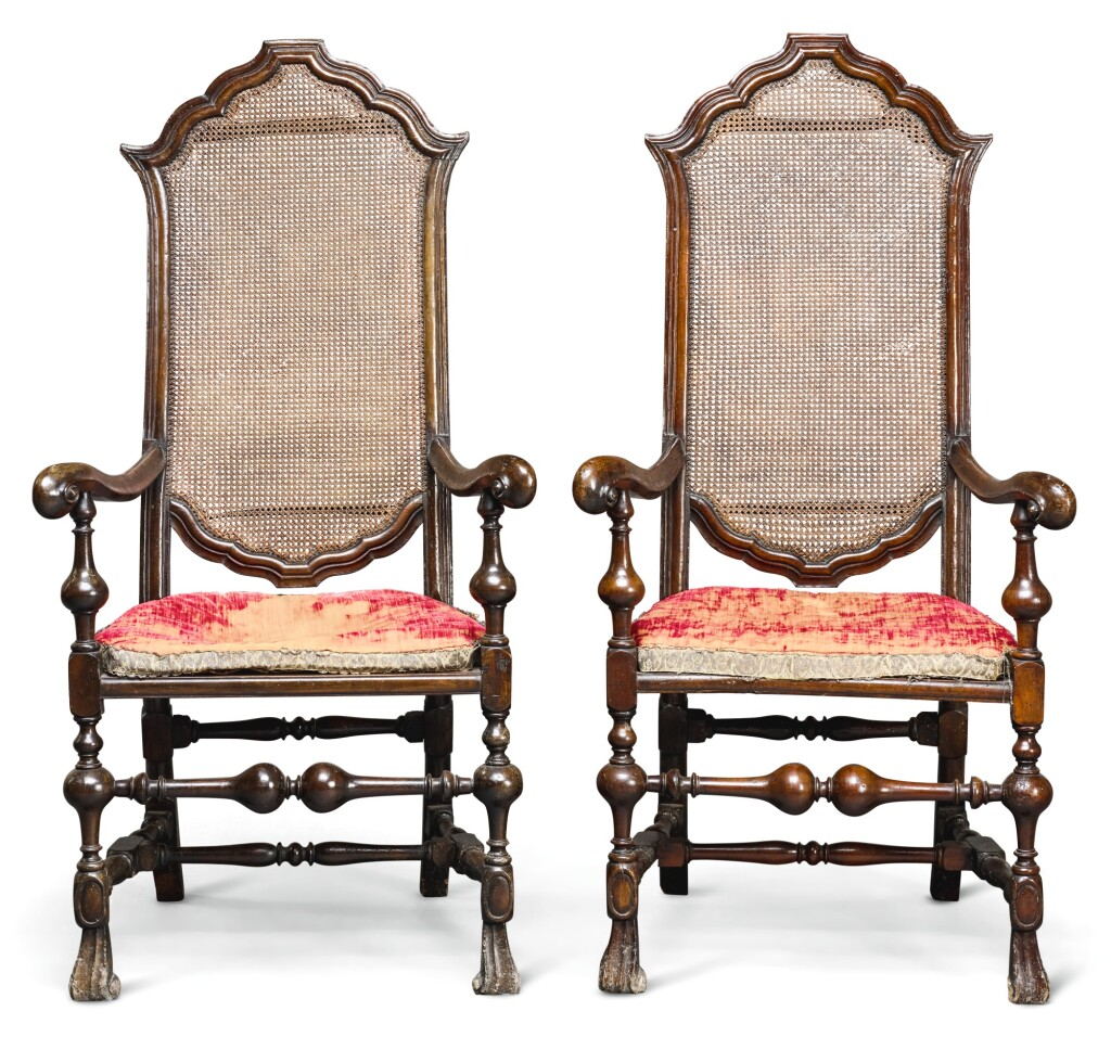A PAIR OF CHARLES II WALNUT AND CANE ARMCHAIRS, CIRCA 1680