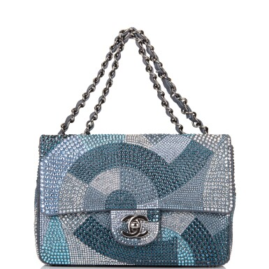 View 7. Thumbnail of Lot 31. Chanel Multicolor Strass Flap Bag of Swarovski Crystals and Grey Leather with Silver Tone Hardware.