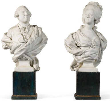 View 1. Thumbnail of Lot 39. A pair of Sèvres Royal portrait busts of Louis XVI and Marie-Antoinette, circa 1786-88.