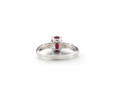 View 3. Thumbnail of Lot 63. RUBY AND DIAMOND RING.