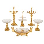 A FRENCH GILT-BRONZE AND CUT-GLASS SIX-PIECE GARNITURE, BY CHRISTOFLE & CIE CIRCA 1880