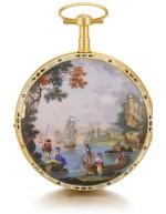 'THE KITCHEN'  SWISS | A RARE GOLD AND ENAMEL WATCH WITH AUTOMATON DEPICTING A KITCHEN SCENE ATTRIBUTED TO PIERRE-SIMON GOUNOUILHOU, GENEVA  CIRCA 1820