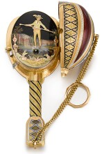 'THE TIGHTROPE DANCER'  SWISS | A VERY RARE AND FINE GOLD, ENAMEL AND PEARL-SET MUSICAL MANDOLIN WITH AUTOMATON SCENE OF A TIGHTROPE WALKER IN ASSOCIATED DESOUTTER BOX  CIRCA 1810