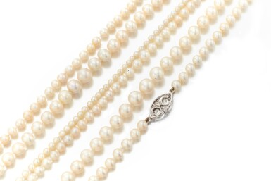 View 3. Thumbnail of Lot 30. COLLECTION OF NATURAL AND CULTURED PEARL NECKLACES   (COLLEZIONE DI COLLANE IN PERLE NATURALI E COLTIVATE).