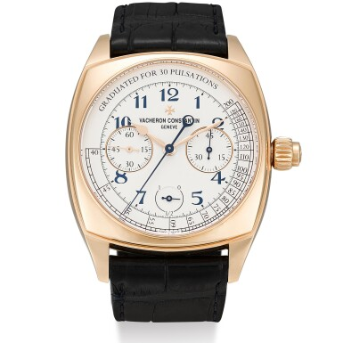 VACHERON CONSTANTIN | HARMONY CHRONOGRAPH, REFERENCE 5300S, A LIMITED EDITION PINK GOLD SINGLE BUTTON CHRONOGRAPH WRISTWATCH WITH PULSATIONS SCALE, MADE TO COMMEMORATE THE 260TH ANNIVERSARY OF VACHERON CONSTANTIN, CIRCA 2015