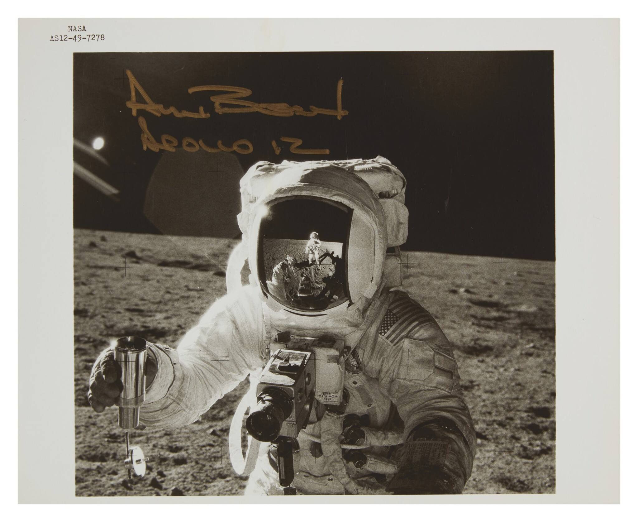 "[APOLLO 12] COLLECTING LUNAR SAMPLES, INSCRIBED BY BEAN. VINTAGE NASA ""BLACK NUMBER"" PHOTOGRAPH, 19-20 NOVEMBER 1969."