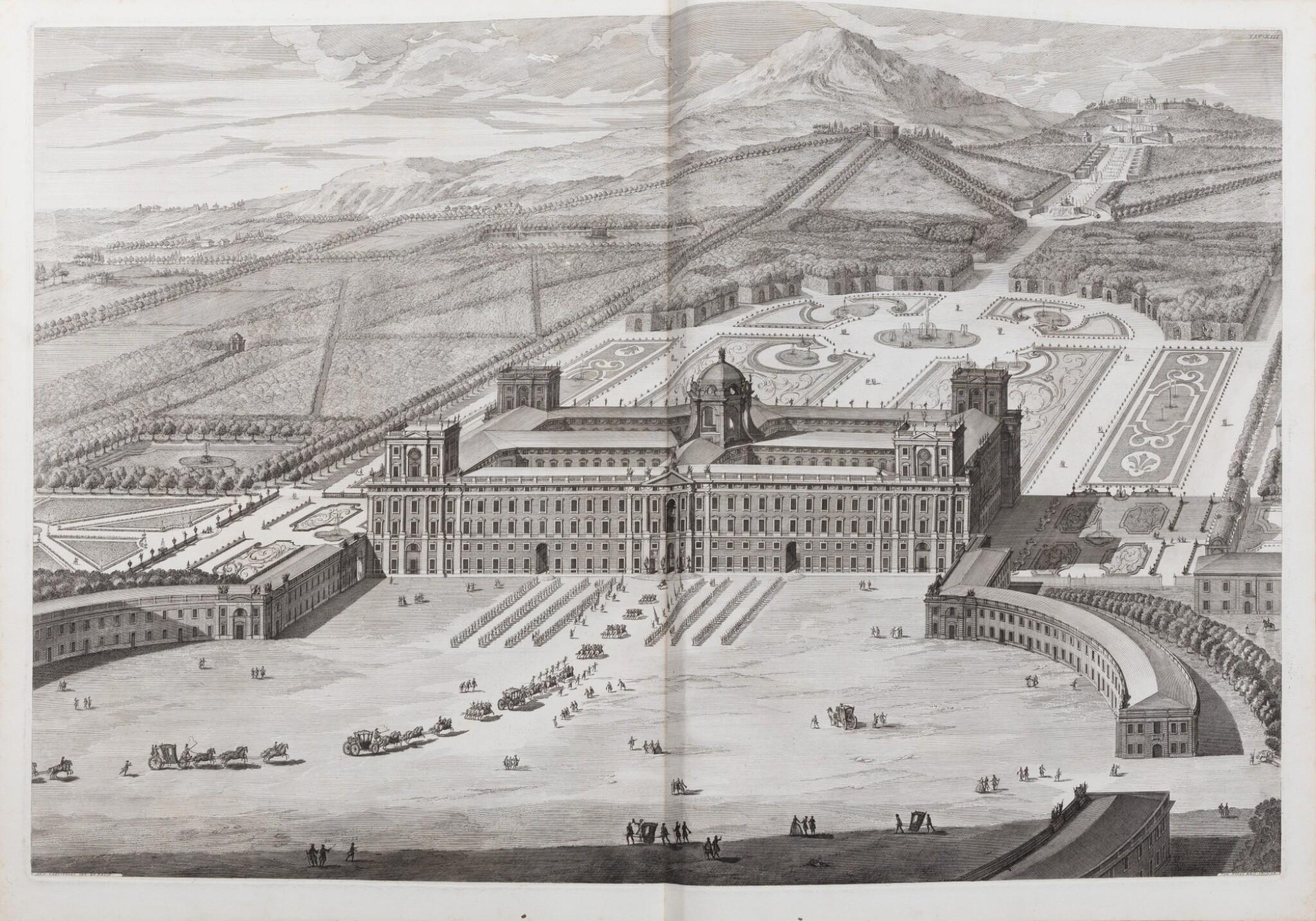 View full screen - View 1 of Lot 65. Dichiarazione dei Disegni del reale Palazzo di Caserta. Naples, 1756. In-folio. Reliure de l'époque..