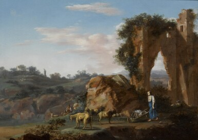 WARNARD VAN RYSSEN [RIJZEN]   An Italianate landscape with a shepherd and his flock, together with a woman pushing a wheelbarrow near classical ruins